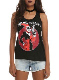 DC Comics Harley Quinn Miss Me Girls Tank Top