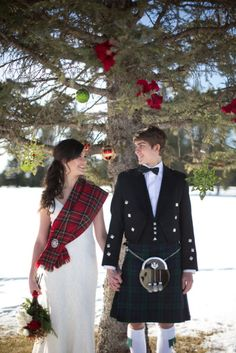 bride's touch of tartan with her wedding dress to celebrate her Celtic heritage ties in so nicely with her groom's kilt! Scottish Wedding Dresses, Scottish Wedding Traditions, Kilt Wedding, Scottish Dress, Scottish Fashion, Wedding Attire, Tartan Wedding Dress, Scottish Weddings, Wedding Tuxedos