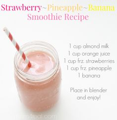 Strawberry Pineapple Banana Smoothie Recipe - So delicious and healthy too
