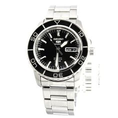 • $158 • 42mm • Seiko 5 SNZH55 Automatic Black Dial Stainless Steel Mens Watch