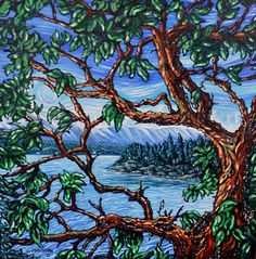 Gulf Island Arbutus - oil painting by Julie Johnston