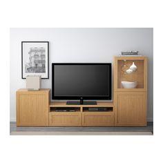 BESTÅ TV storage combination/glass doors, Hanviken, Sindvik oak effect clear…