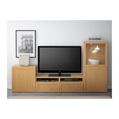 BESTÅ TV storage combination/glass doors - Hanviken/Sindvik oak effect clear glass, drawer runner, soft-closing - IKEA