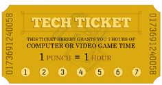 Printable technology ticket punch cards for summer (monitoring screen time) from MomAdvice.com.