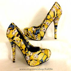 These heels are MADE-TO-ORDER and are an amazing accessory for any Minion lover. The shoes are covered with licensed Minion fabric (very hard to find -