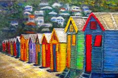 Winner 2nd Place in Winter Escapes Contest on  Fine Art America - The Beach Houses at Fish Hook by Michael Durst Beach Houses or Changing Rooms on the beach at Fish Hoek are painted in bright primary colours creating a whimsical exuberance of a bygone era. Fish Hoek is on the Indian Ocean side of Cape Town, South Africa. #winner #Aftico, #beach