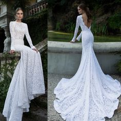 2014 vestidos de noiva lace long sleeve backless cathedral train wedding dress high neck mermaid wedding gowns BTA06 $221.00