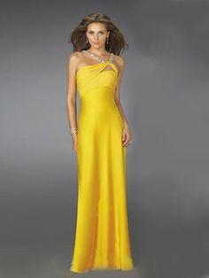 Draping Sreaps Beaded Backless Yellow Evening Dress