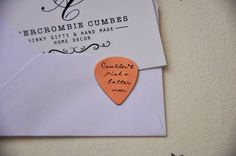 Couldn't pick a better man - Hand stamped copper plectrum - Personalised Pick - Copper guitar pick - Copper 7th Anniversary Gift - Valentine