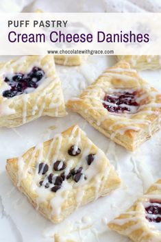 Puff Pastry Cream Cheese Danishes – Chocolate With Grace Easy Cream Cheese Puff Pastry Dessert. Try these easy danishes made from puff pastry. Try any flavor you want, chocolate, raspberry, blueberry or any fruit you want. Quick and easy Brunch Dessert. Cream Cheese Puff Pastry, Cream Cheese Danish, Cream Cheeses, Cheese Danish Recipe Puff Pastry, Köstliche Desserts, Delicious Desserts, Dessert Recipes, Easter Recipes, Easy Baking Recipes
