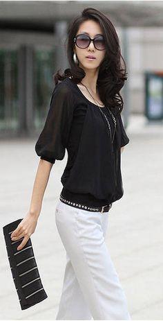 Elegant Scoop Neck Elastic Hem Cotton Splicing Pleated Chiffon Blouse for Women (WHITE,L) | Sammydress.com
