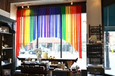 Our St. Patrick's Day rainbow window display.