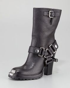 high heel leather bootie