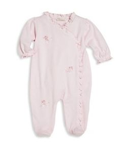 Kissy Kissy - Baby's Rose Ribbons Ruffled Pima Cotton Footie