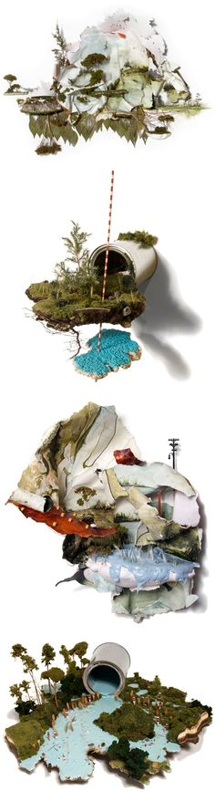 American artist Gregory Euclide took the term 'mixed media', and seriously ran with it! Here is a quick list of the mediums and objects used to create these insanely amazing, and incredibly beautiful, examples of mixed media: Acrylic paint, eurocast, grass, juniper, lichen, paint can, pine needles, moss, sedum, sponge, cedar, found foam, foam, cigarettes, milkweed, paper, plastic, styrofoam, stone, and wood.