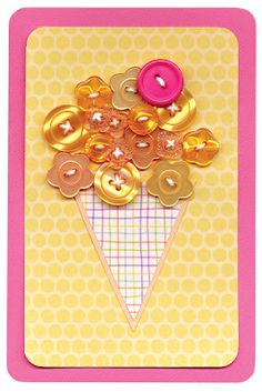 cute ice cream cone card with buttons