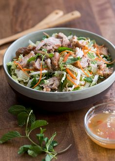 Vietnamese Salad - leave out the chicken part; you have apparently the traditional Vietnamese Salad. w/ fish sauce dressing. Vietnamese Chicken Salad, Grilled Chicken Salad, Chicken Salad Recipes, Vietnamese Food, Bbq Chicken, Recipes With Fish Sauce, Fish Recipes, Asian Recipes, Healthy Recipes