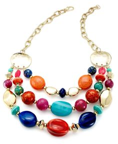 Style Necklace, Gold-Tone Multi-Color Bead Frontal Necklace - Fashion Jewelry - Jewelry & Watches - Macys