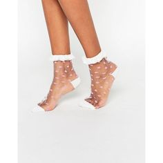 ASOS Sheer Polka Dot Ankle Socks With Lace Trim ($6.50) ❤ liked on Polyvore featuring intimates, hosiery, socks, white, white socks, white frilly socks, lace socks, ankle high socks and ruffle ankle socks