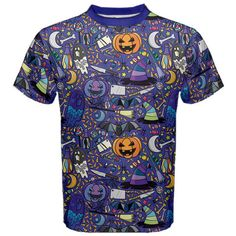 New Halloween Symbols Printed Men's Blue Cotton Short Sleeve T-Shirt Size XS-3XL
