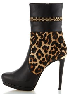 Michael Kors leopard and leather platform booties