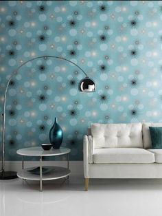 Opera Jazz Teal - I love this wallpaper for a feature wall! Decor, Contemporary Wallpaper, Diy Wallpaper, Wallpaper Accent Wall, Teal Wallpaper, Family Living Rooms, Neutral Wallpaper, Home Art, Home Decor