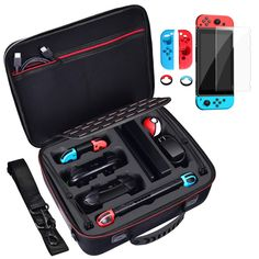 Diocall Deluxe Carrying Case for Nintendo Switch, Accessories Bundle Includes Tempered Glass Screen Protector, Joy-con Silicone Case and Joy-Con Thumb Grips Caps Nintendo Switch 2017, Nintendo Switch System, Nintendo Ds, Super Nintendo, Nintendo Switch Accessories, Gaming Room Setup, Video Game Rooms, Gamer Room, Videogames