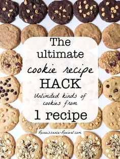 Cookie Recipe Hack: Unlimited varieties using ONE recipe. If you have one recipe in your recipe box, this should be it!