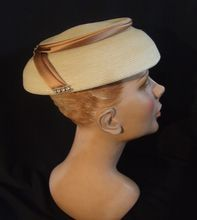 Winsome Hat in Straw with Satin & Rhinestone Decoration Melanee Hats