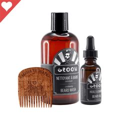 ESSENTIAL BEARD CARE KIT - INDUSTRIES GROOM AND BIG RED BEARD COMB - BEARD OIL, BEARD WASH AND BEARD COMB