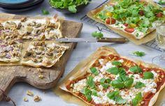 3x gezonde pizza - Chickslovefood Skinny Pizza, Cottage Cheese, Vegetable Pizza, Love Food, Veggies, Vegetarian, Tasty, Lunch, Healthy Recipes