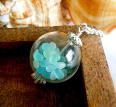 Silver Sea Glass Ocean Treasure Necklace, via KarmaBeads on Etsy