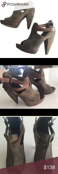 Chunky brown Suede Bootiea Brown suede upper woth wood platform. Brown leather strap detail fits around ankle.  Good condition and wear looks intrinsic to the shoe design.  This shoe will toughen up any look! All Saints Shoes Ankle Boots & Booties