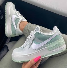 Nike Air Force 1 brand new colorway, they are a dream be quick girls! Dr Shoes, Hype Shoes, Me Too Shoes, Shoes Sneakers, Cute Nike Shoes, Nike Custom Shoes, Green Nike Shoes, Blue Nike, Casual Sneakers