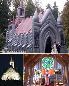 "Blow-up church  Traditional enough to require a church wedding but eccentric enough to find an inflatable chapel acceptable?  There's simply no choice but to have a blow-up church delivered to the site of your preference. ""Innovations Xtreme""  produces this highly unusual structure, which comes complete with pews, an organ, an altar, candles, a gold cross and angels flanking the door – all made of plastic filled with air. At night and from a distance, the church looks surprisingly…"