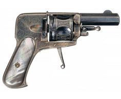 Finely Engraved Gold Inlaid European Folding Trigger Double Action Revolver with Rare Black Pearl Grips.