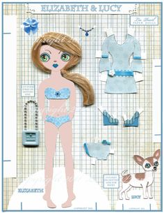 Elizabeth and Lucy Paper Doll by LizPearl on Etsy, $15.00