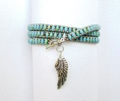Bracelet Wrap, Beaded Wrap Bracelets, Seed Bead Bracelets, Handmade Bracelets, Beaded Jewelry Patterns, Bead Jewelry, Jewellery, Jewelry Making, Bracelet Turquoise