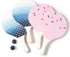 DIY Painted Beach Ball Paddle Set with @Martha Stewart Crafts   Paddle Set Craft via @Plaid Crafts