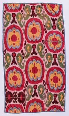 "All silk Uzbek ikat panel, six colors, circa 1900. Lined with Russian printed cotton. Two small inconspicuous repairs. Size: 83"" x 46"" (211 x 117 cm). Provenance: Private Santa Monica, CA Collection."