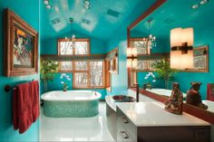 18 Examples of Delightful Atmosphere with Turquoise Color in Your Home check out the dress and the left dresser handles