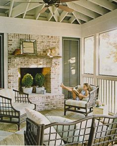 sun room   whitewashed brick, exposed rafters