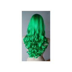 Ruler Sweet Lolita Heat Resistant Fiber 45cm Medium Light Green Wig ❤ liked on Polyvore featuring wigs