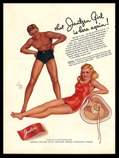 Original 1941 Jantzen Varga Girl Swimsuit Collectible Vintage Art Print Ad #Jantzen