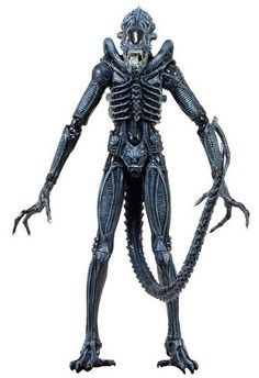 Xenomorph Warrior Figure from Aliens, NECA 51394 Xenomorph Warrior Figure from Aliens. It is made by NECA and is approximately 19 cm (7.5 in) high    The Aliens Warrior stands over 9 inches tall and has more than 30 points of articulation, including a bendable tail, hinged jaw, and sliding inner mouth. This version of the Warrior features blue costume highlights and a glossy, wet appearance.
