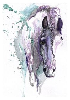 Sad purple-and-turquoise horse head tattoo design