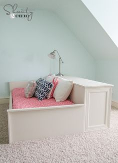 DIY Wood Working projects: DIY Platform Dresser Bed - Shanty 2 Chic