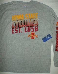 42caeefd IOWA STATE CYCLONES Licensed College NCAA Cotton Long Sleeve T-shirt 2XL  (50-52)