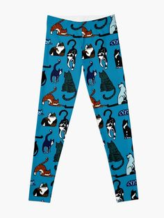 """""""Cat Lovers Teal Pattern"""" Leggings by HavenDesign 