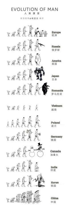 국가별 특성에 따른 인류 진화도.